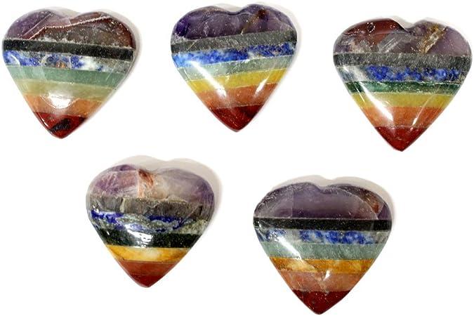 1 Rock Paradise Exclusive COA ONE Seven Bonded Chakra Stones Seven Chakra Stone Heart Chakra Heart AM20B7-08