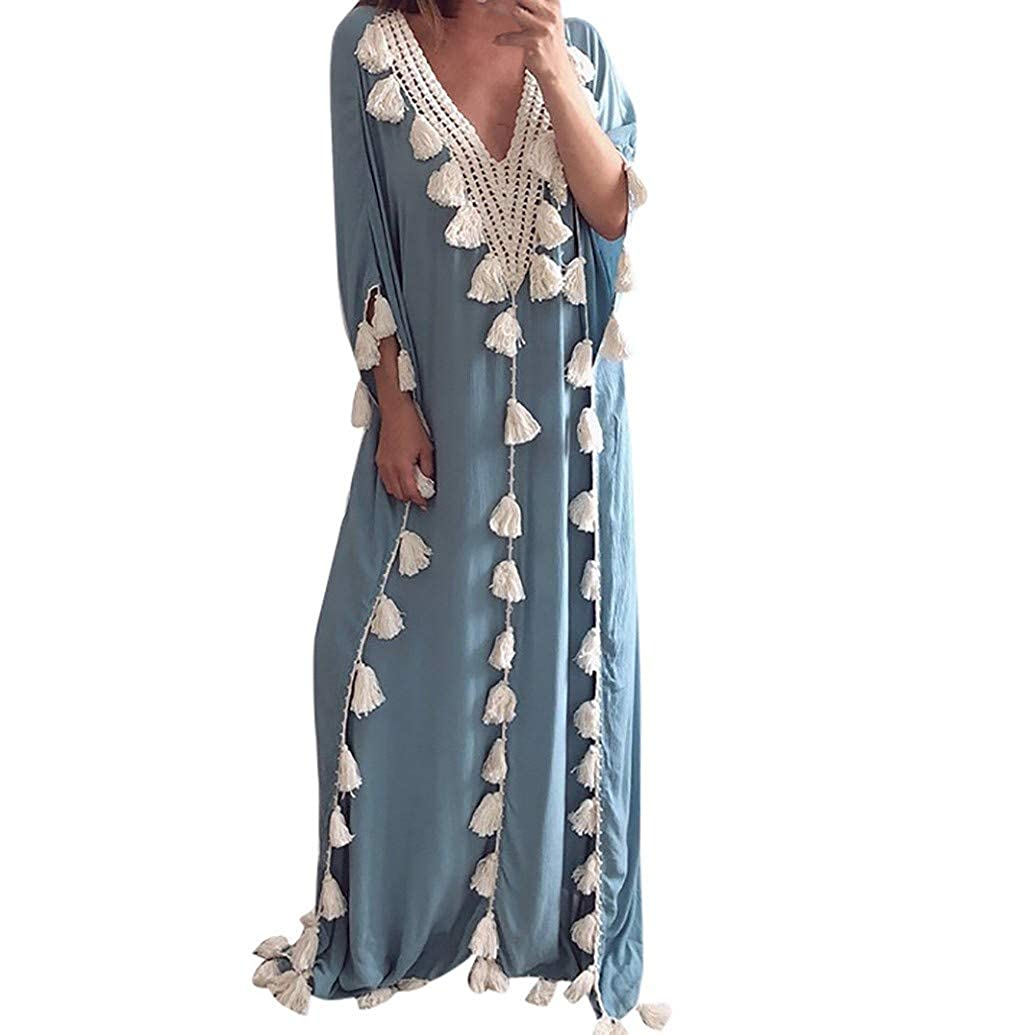 Women Boho Loose Kaftan Oversized Sundress Pleat Tunic V Neck Maxi Dress JHKUNO