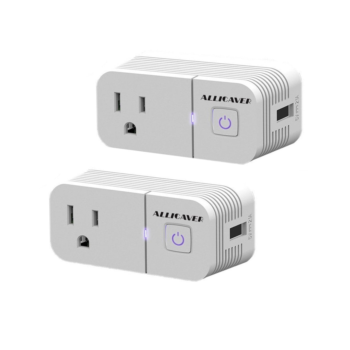 Smart Plug Compatible with Alexa,ALLICAVER 2 Pack Wifi Smart Socket with Amazon Echo & Google Assistant,Remote Control Outlet Light Switch,Timing Function with USB Charging Port 2.1A
