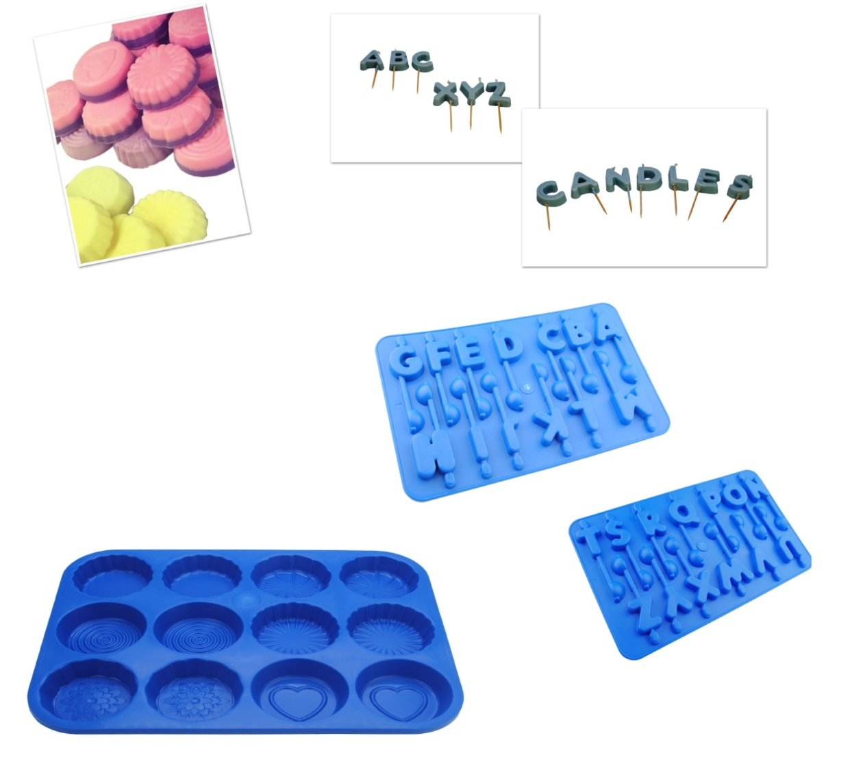 Set x 3 A-Z Alphabet Birthday Letters Trays /& Number 0-9 Tray Candle Mould S7580