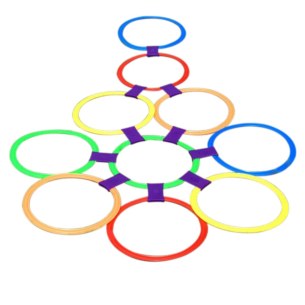 MonkeyJack 15.5in Diameter 10 Rings /& 10 Ring Clips Twister Hopscotch Active Indoor Play Game Complete Set with Box for Children Kids Play for Fun