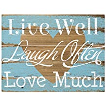 Malden Rustic Wall Sign Live Well Laugh Often Love Much Silkscreened Pallet Wood Sign, 12-Inch X 16-Inch, Barnwood