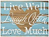 Malden International Designs Rustic Wall Sign Live Well Laugh Often Love Much Silkscreened Pallet Wood Sign, 12×16, Barnwood