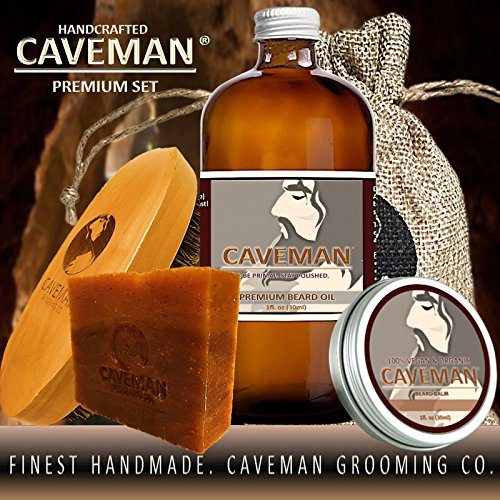 Caveman Beard Oil, Beard/Mustache Balm Wax, Beard and Body Soap, Boar's Hair Brush Set in Drunken Caveman (Bay Rum) Scent