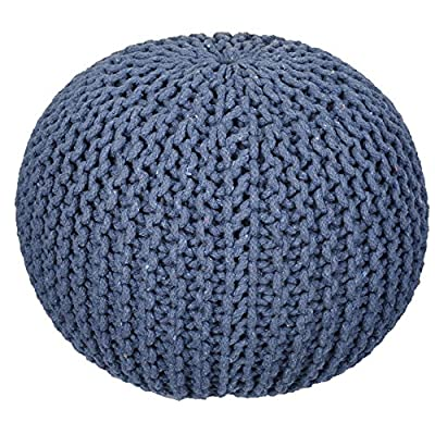 Hand Knit Pure Cotton Stuffed Pouf - Braid Cord Stitched Round Footstool Ottoman Home Decorative for Living Room Perfect Outside Seating