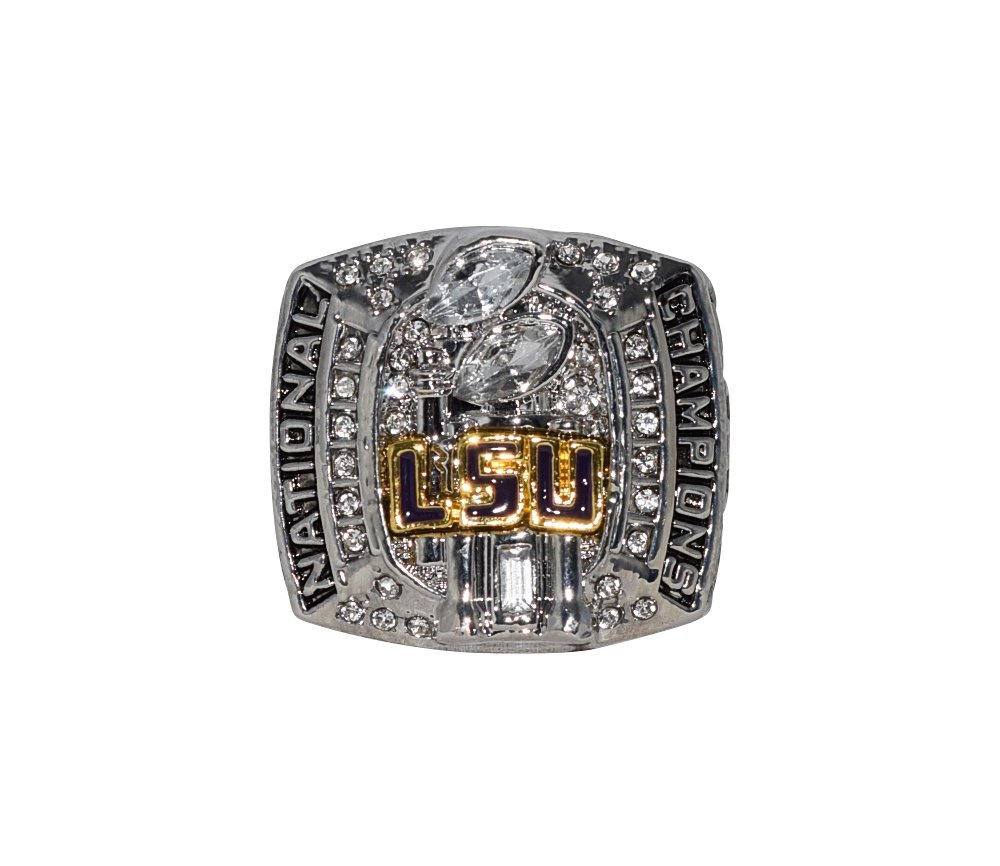 LOUISIANA STATE UNIVERSITY (LSU Tigers) 2007 NCAA BCS NATIONAL CHAMPIONS Rare Collectible Silver Replica NCAA College Football Championship Ring with Cherrywood Display Box
