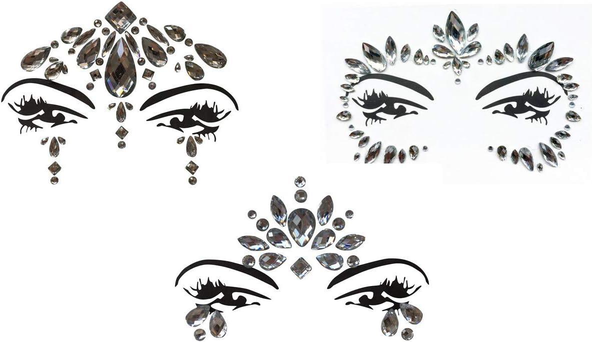 Gem Sticker - Pegatinas de piedras preciosas y joyas, para cara y cuerpo, maquillaje, para fiestas, festivales y espectáculos, juego de 3 piezas