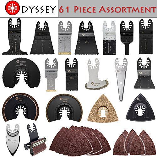 Odyssey Oscillating Multitool 61 Piece Assortment Pack Platinum Saw Blades for Wood Plastic Metal Bundle (61-Items)