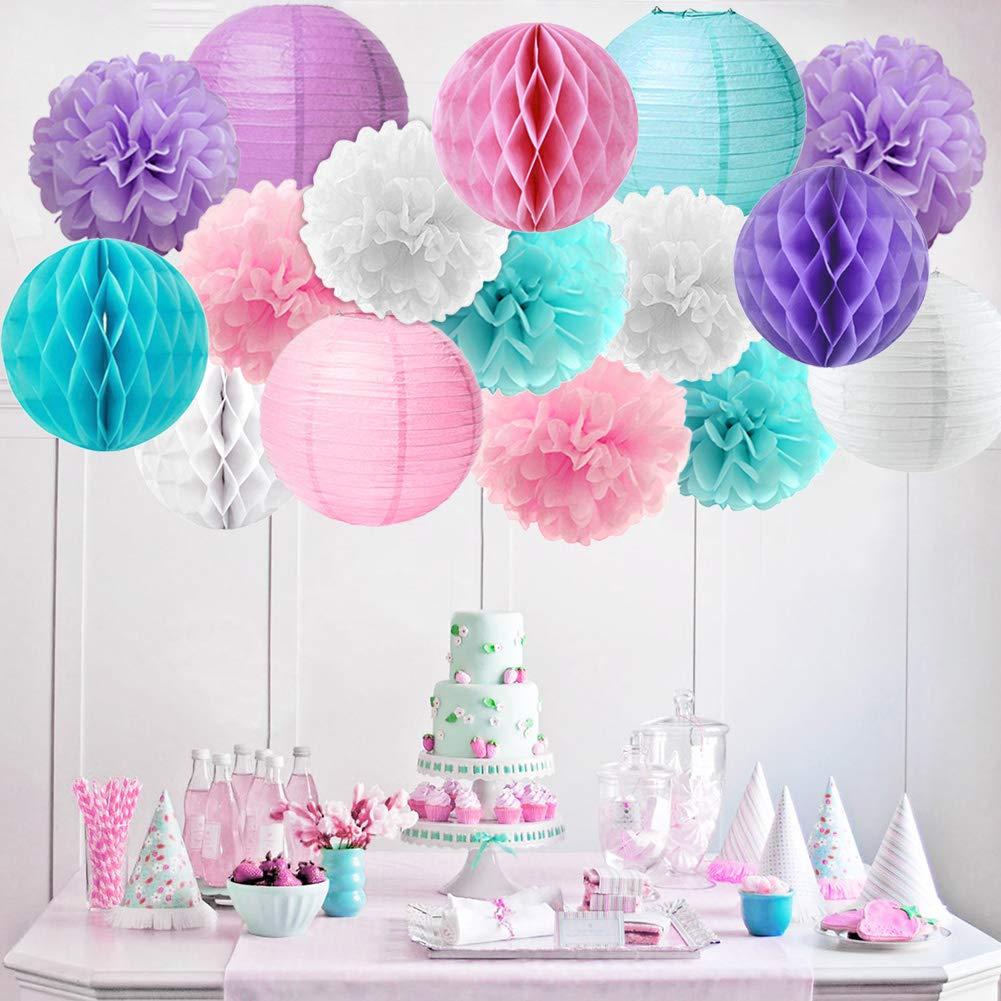 Mermaid Unicorn Party Decorations Pink Purple White Aqua Crepe Paper Balloons Tissue Pom Poms Lanterns For Girls Birthday Baby Shower 59 Pack