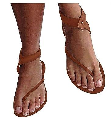 4eef0db3af6359 Lueyifs Damen Sandalen Flache Knöchel Schuhen Gladiator Flip Flop Thong  Sommerschuhe (36