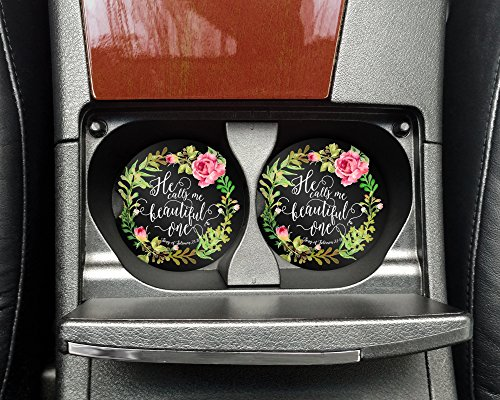 Christian quote - He calls me beautiful one - Car coasters - Sandstone auto cup holder coasters