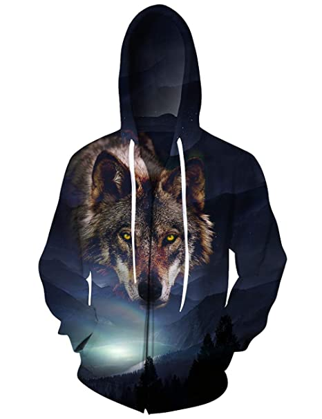 Bsrale Pullover Casual Wolf Forest Hombres Sudaderas Capucha 3D Print Zipper Hombres Mujeres Sudaderas Cap Tops Hombres Capucha Nebulosa Chaqueta: ...