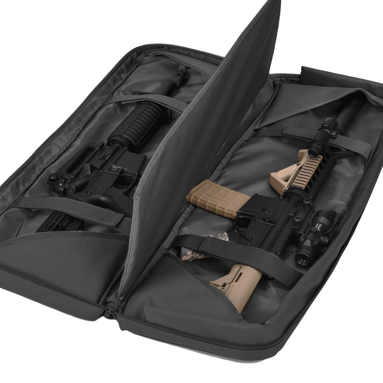 BOW-TAC Double Long Rifle Gun Case Bag Tactical Rifle Backpack Pistol Soft Firearm Transportation Carbine Case - Lockable Compartment, Available Length in 36'' 42'' 46'' by BOW-TAC (Image #4)