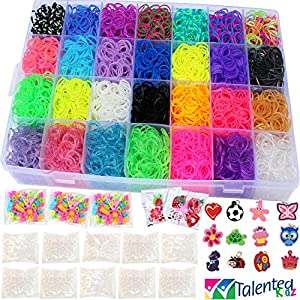11,000pc Original Rainbow Rubber Bands Loom Bundle by Talented Kidz: 10,000 Premium Quality Rubber Bands in 28 Colors, 24 Charms 500 Clips 175 Beads & Organizer. Best Kit For Friendship Bracelets