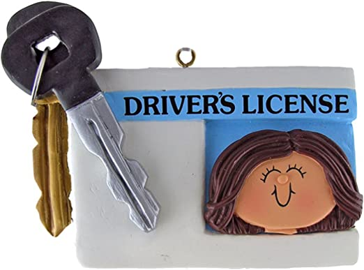 License Female Brown Personalized Christmas Tree Ornament