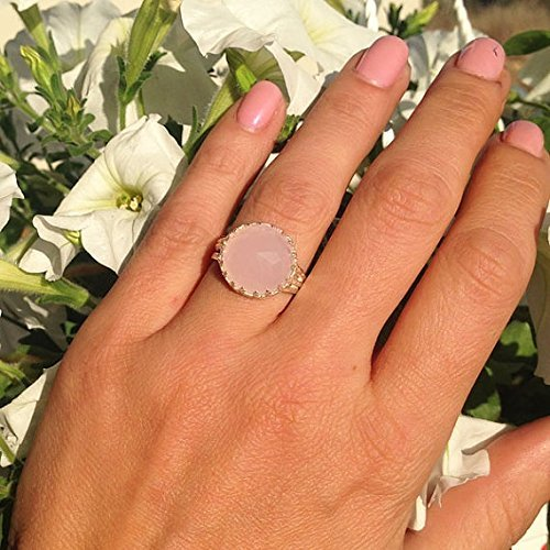 21st- 40th Birthday Gifts for Women Pretty Rosy- Pink Chalcedony Kite Ring for Women Pink Chalcedony Dainty Ring 925 Sterling Silver Ring