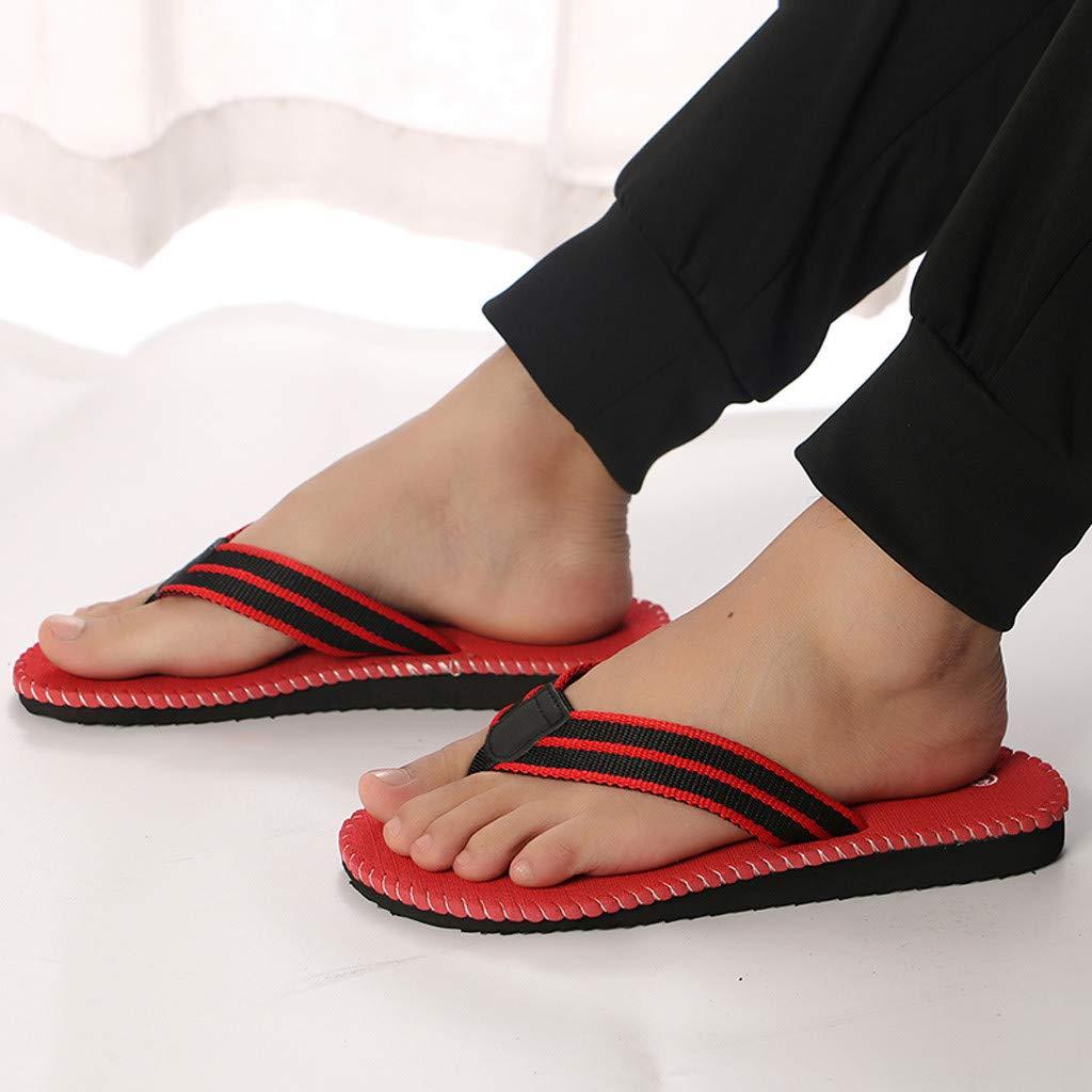 kaifongfu Summer Fashion Men's flip Flops Beach Sandals for Men Flat Slippers Non-Slip Shoes(Red,44) by kaifongfu (Image #7)