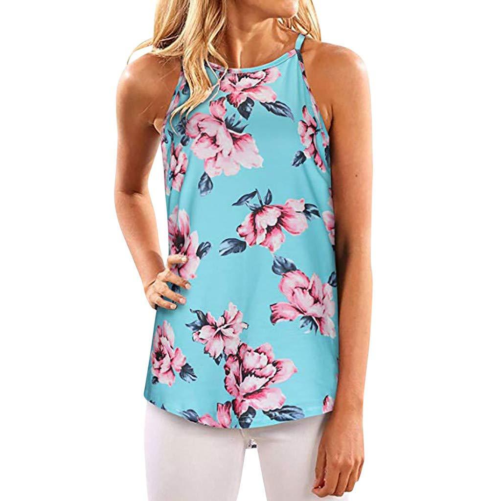 Keliay Womens Tops for Summer,Women Summer Print Sleeveless Shirt Blouse Casual Tank Tops T-Shirt Blue