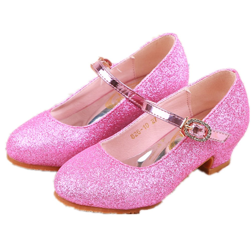 Kids Girls Mary Jane Wedding Party Shoes Glitter Bridesmaids Low Heels Princess Dress Shoes(Pink 31/13 M US Little Kid)