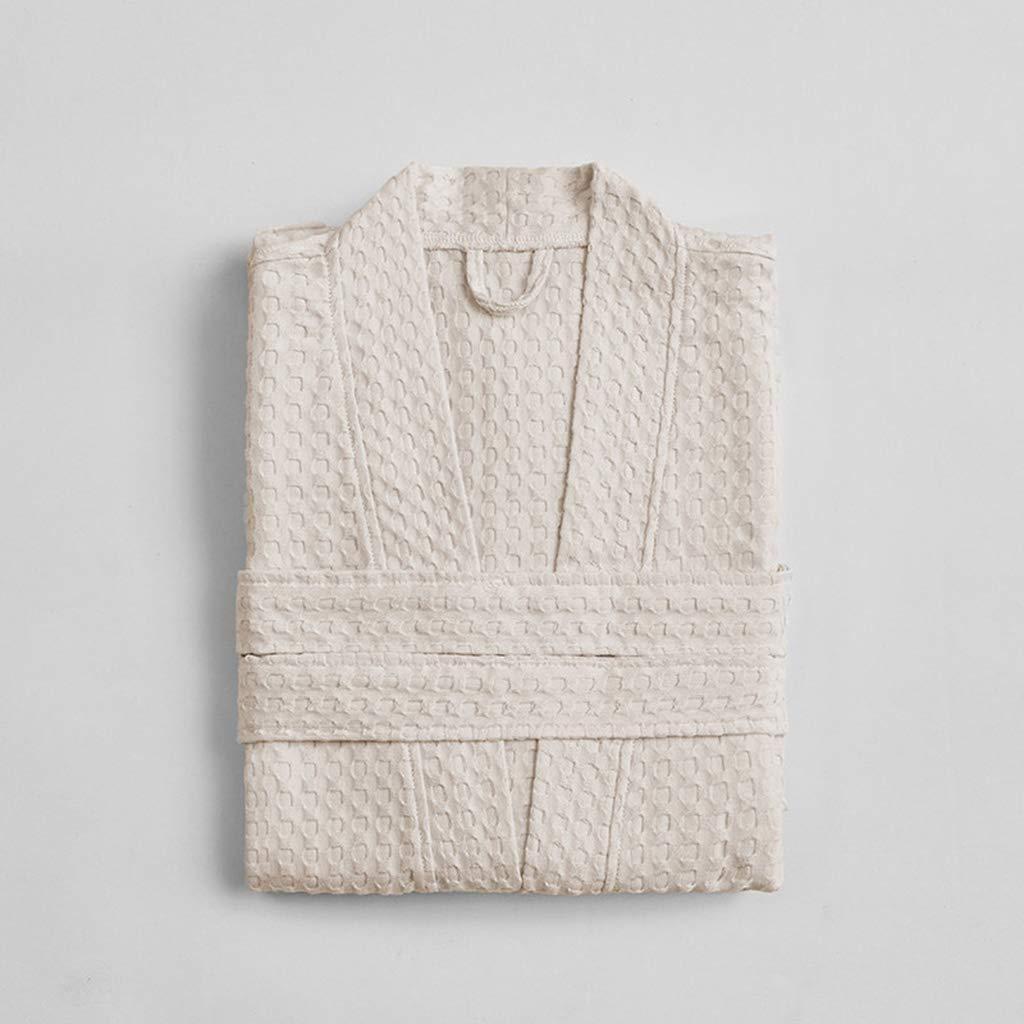 White Fashion bathrobe Men and Women Cotton bathrobe Spring and Summer Absorbent Couple bathrobe Thin Section Robe
