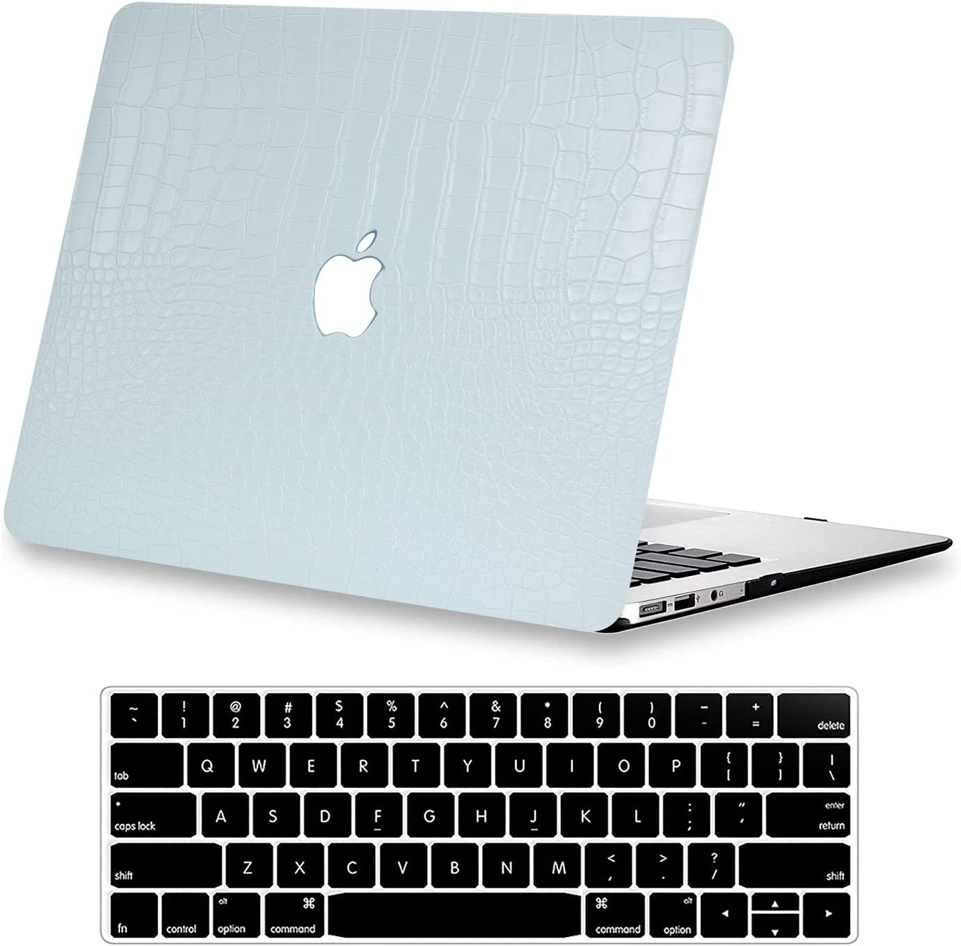 MacBook Pro 13 inch Case M1 A2338 A2289 A2251 A2159 A1989 A1706 A1708, KEROM Crocodile Leather Hard Shell Case with Keyboard Cover fit MacBook Pro 13 inch Case 2020 2019 2018 2017 2016, Mint Green