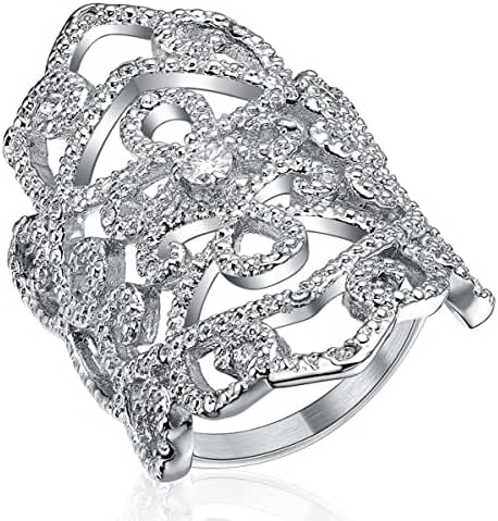 Womens Celtic Rings Silver Color Cubic Zirconia Stainless Steel Victorian style