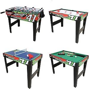 Mesa de Juego combinada 4 en 1, Mesa de Hockey, Mesa de futbolín, Mesa de Billar, Mesa de Ping-Pong: Amazon.es: Juguetes y juegos