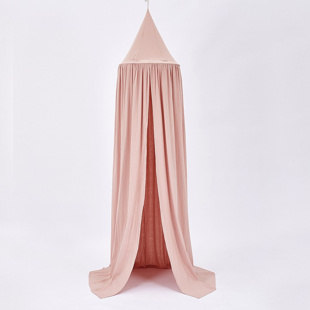 JHion Princess Bed Canopy Reading Nook Mosquito Net for Kids Baby Crib, Round Dome Kids Indoor Outdoor Castle Play Tent Hanging House Decoration Dusty Pink