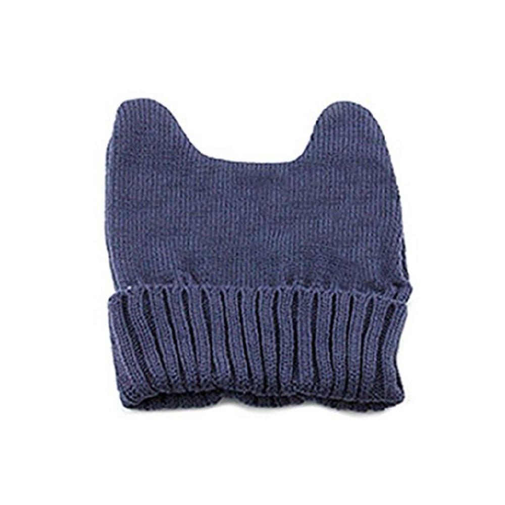 冬レディースガールズかわいい猫耳形状ニット帽子伸縮性ソフト暖かいビーニーキャップ B01MTSR13Y One Size|ダークグレー ダークグレー One Size