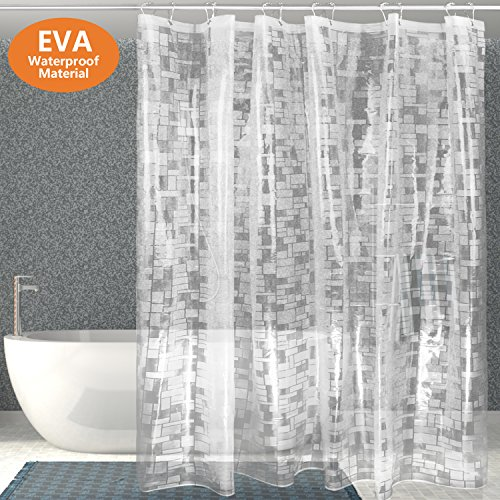 Clear Frosted Mosaic (Clear Shower Curtain liner Tusscle,EVA Plastic Mildew Resistant Non-toxic Waterproof,Mosaic Pattern 72x72 Inch,With 12pcs Rust Proof Stainless Steel Hooks)