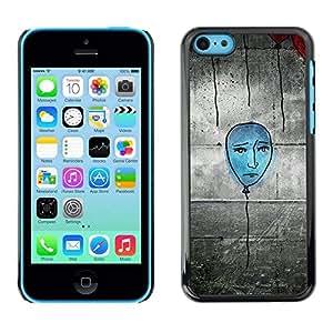 //MECELL CITY PRESENT//SmartPhone Carcasa rígida Carcasa de plástico PC Carcasa fresco imagen para iPhone 5C///Globo azul Street Art pared Grafiti dibujo///