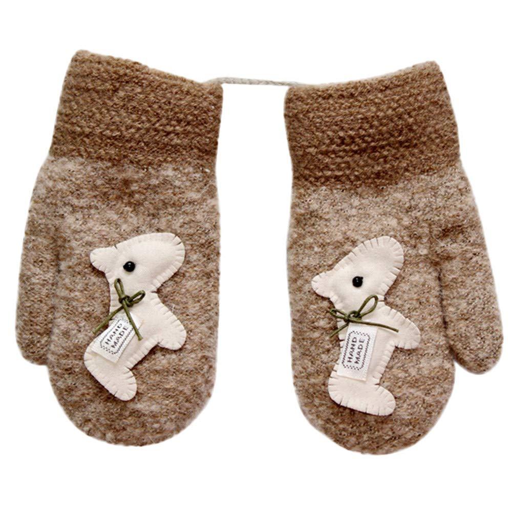 Kids Gloves, Zerototens Children Boys Girls Cute Cartoon Animal Cute Twist Full Finger Warm Winter Child Gloves With Ropes Knitted Mitten 2-6 Years Old