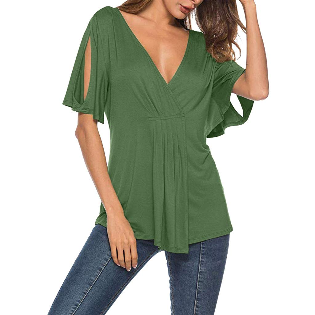 Womens V Neck Blouses, Loose Hollow Short Sleeve Bow Solid Color Pleated Summer Casual Tunic Top (XXL, Green)
