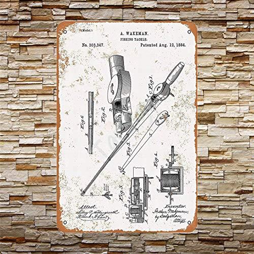 "TarSign Fishing Rod Reel Patent Vintage Wall Decor Plaque Decoration Metal Tin Sign 12"" X 8"""