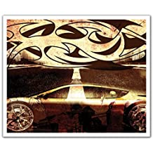 J.P. London POSLT2111 uStrip Lite Removable Wall Decal Sticker Mural Tribal Hot Wheels Street Racing Tattoo, 24-Inch X 19.75-Inch