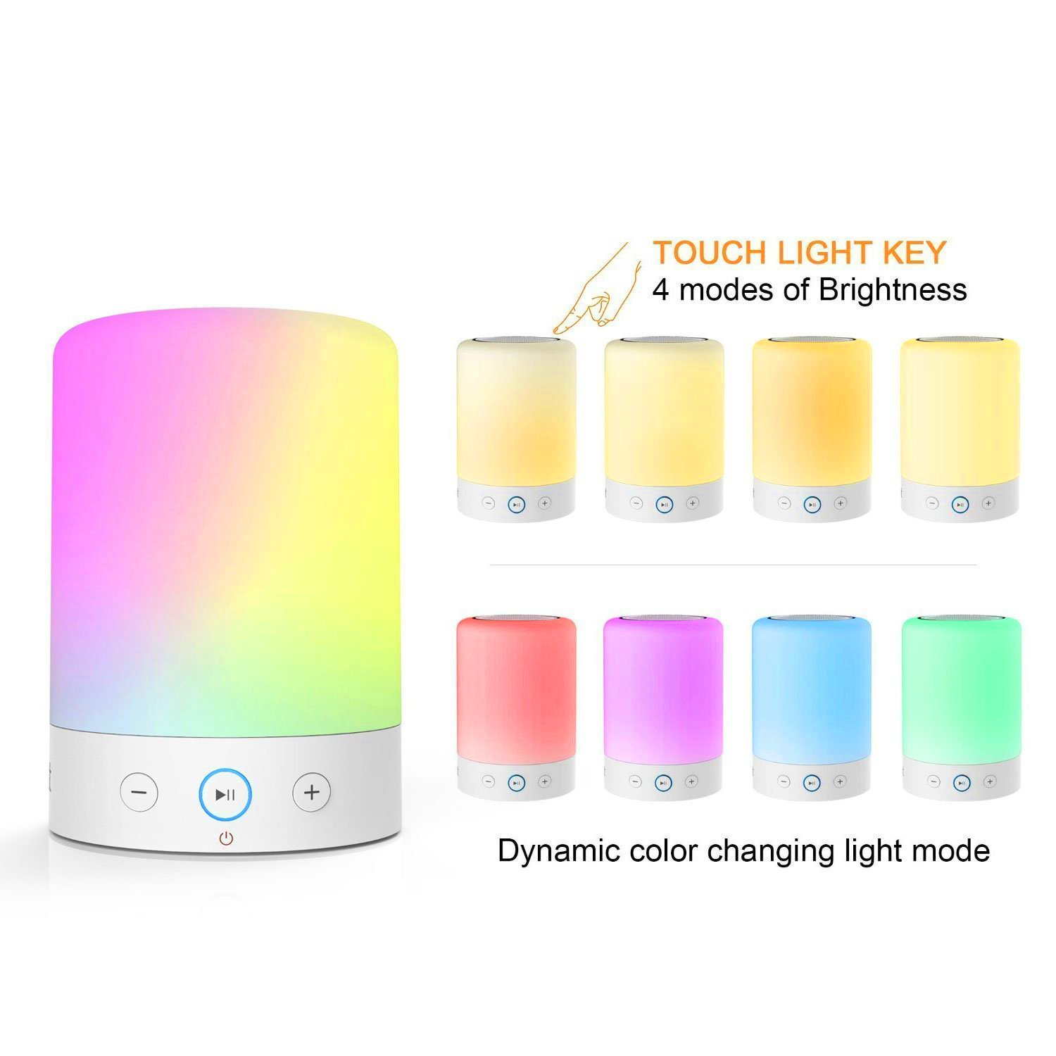 MOXNICE Table Lamp with Bluetooth Speaker Portable Dimmable Night Lights Smart Touch Wireless Speaker Bedside Lamps with Color Changing,Hands-free,Timing Function, Best Gift for Baby Kid Teen Women by MOXNICE (Image #2)