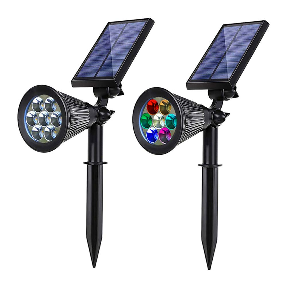Solar spotlights Outdoor Solar Powered Landscape Lights 7 LED Solar Patio Lights Waterproof Security Pathway Lights Flood Fence Light Garden Lights Above Ground Pool Light(Pack of 2)