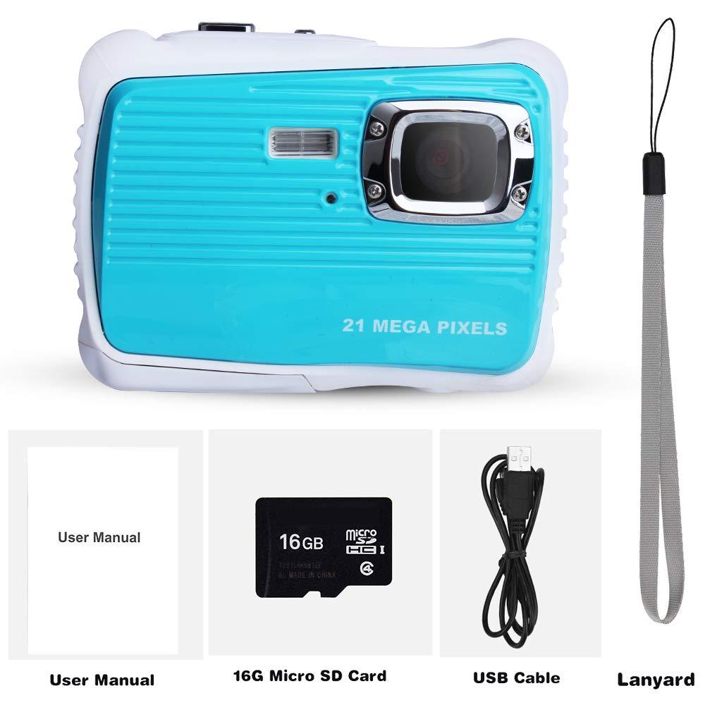 Waterproof Digital Camera Kids 8X Digital Zoom, Kids Digital Camera 21MP HD Underwater Action Camera Camcorder 2.0 inch LCD Screen, Free 16GB Memory Card