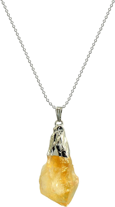 Collar colgante de citrino amarillo en bruto de roca natural 45,7cm