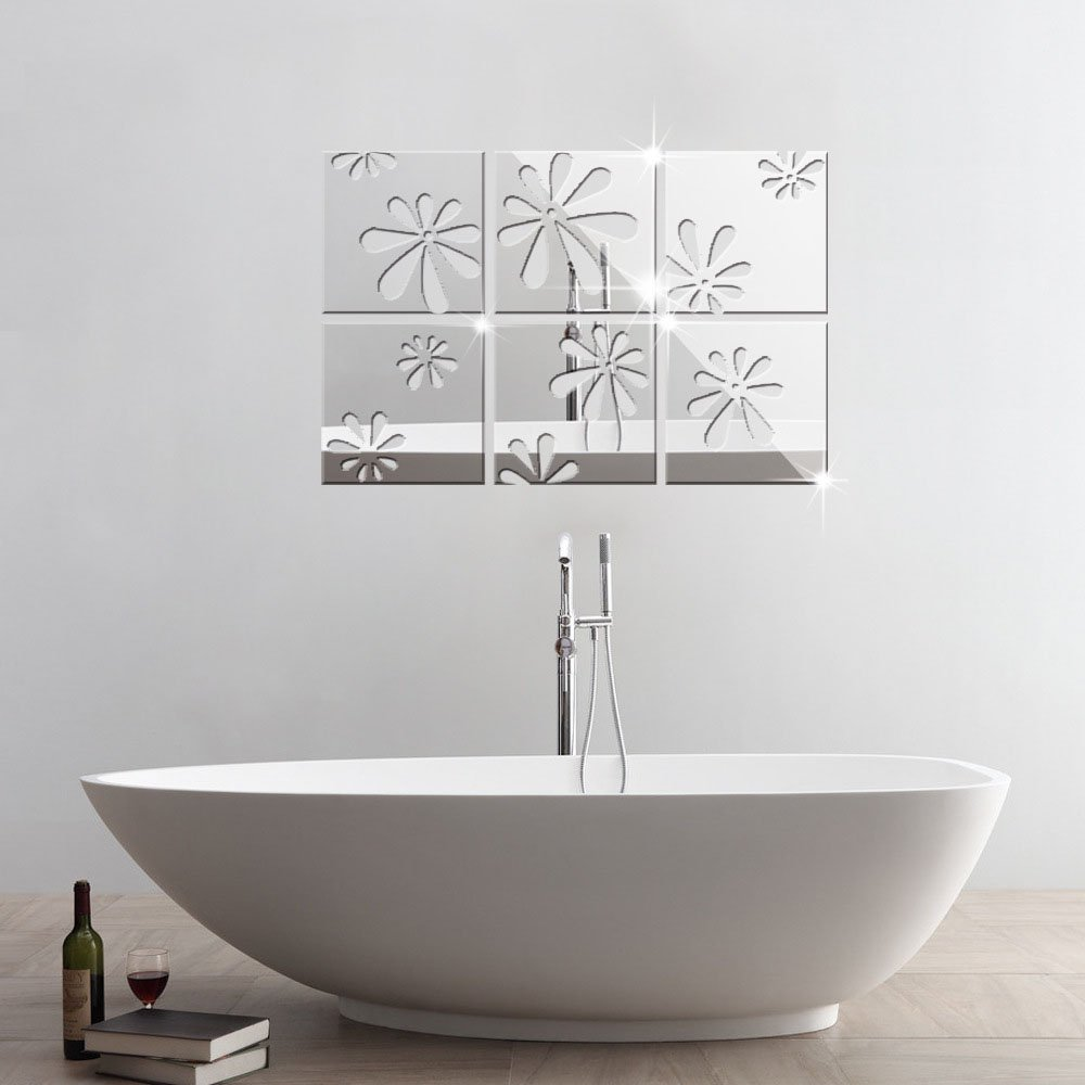 Alrens 15x15cm Squares Roof Ceiling Decor Mirror Surface Crystal Wall Stickers Silver WS1126 Alrens/_DIY 6 Pieces TM