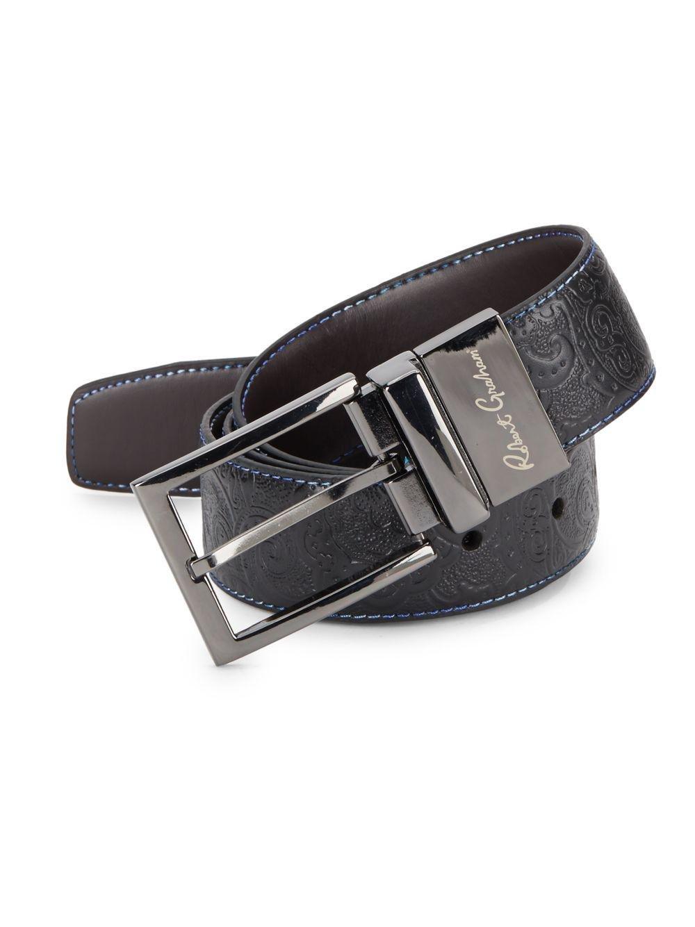 Robert Graham Garrison Paisley Embossed Leather Belt Black 34