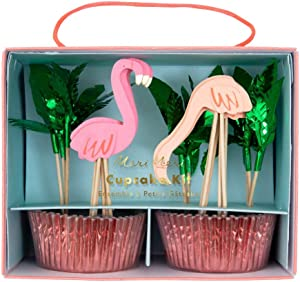 Meri Meri, Flamingo Cupcake Cases and Toppers Kit, DIY Party Decorations, Pink and Green - Pack of 24
