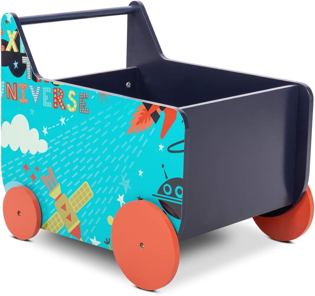 Lalaloom SPACE WAGON - Andador bebe madera natural color azul con ruedas carrito multifuncional infantil con espacio almacenaje para juguetes 50x37,6x45cm