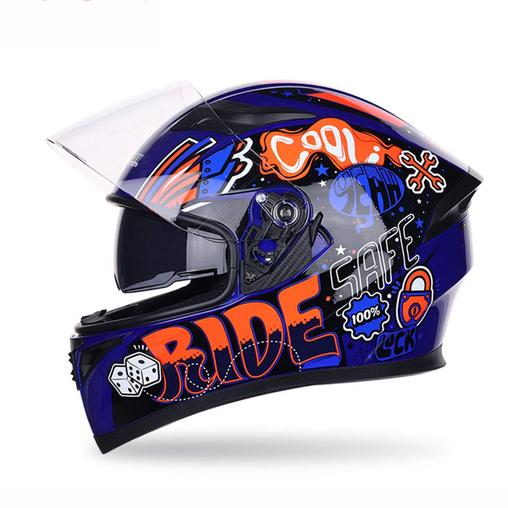 Casque Moto V/élo De Montagne Unisexe V/éhicule Tout-Terrain VTT Casque De Karting /À Clapet,A,M Casque De Moto Int/égral /À Double Lentille Anti-Bu/ée