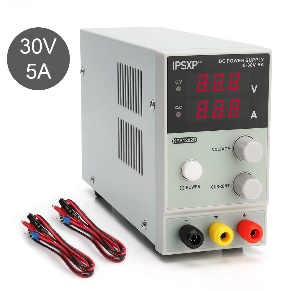 Variable DC Power Supply, IPSXP KPS1202D Adjustable Switching Regulated Power Supply Digital, 0-30 V 0-5 A with Alligator Leads US Power Cord