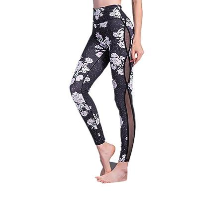 MVNTOO Women Flower Print Yoga Leggings Black Mesh High Waist Sport Pant Fitness Gym