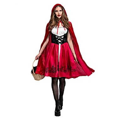 keepmoving womens little red riding hood halloween cosplay costume make up party dress 3x