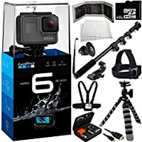 GoPro HERO6 Black 12PC Accessory Kit - Includes 32GB microSD Card + Heavy Duty Monopod Selfie Stick + Micro HDMI Cable + Flexible Gripster Tripod + Head Mount + Chest Strap + MORE