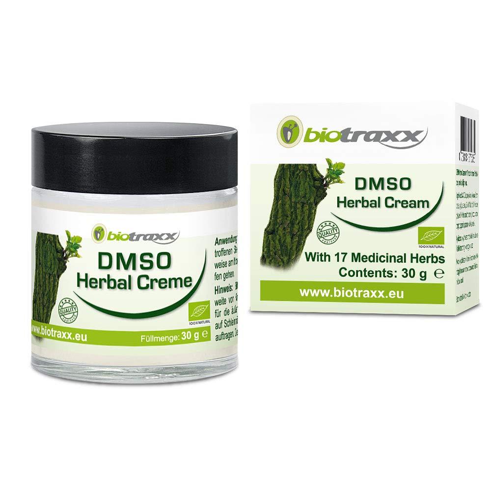 Biotraxx herbal DMSO crema con 17 hierbas curativas naturales | Producto de la más alta calidad | Aroma Natural Agradable | Recipiente de vidrio 30gr ...