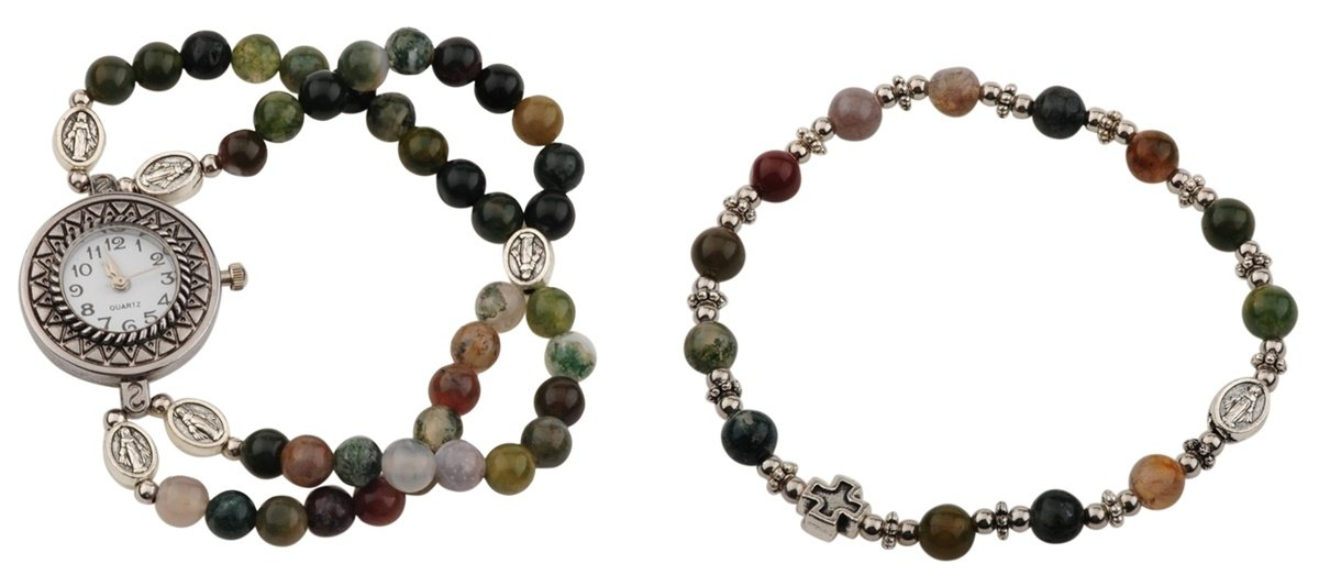 Marble Prayer Bead Rosary Watch and Bracelet Set, One Size (India Agate)